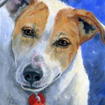 Wheezy, portrait of a  mixed breed by Hope Lane